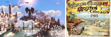 Columbia (Bioshock) y cartel de la Expo