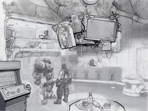 Concept art de la cantina del Hyperion, por Brian Huang. Starcraft 2. Blizzard Entertainment - 2010.
